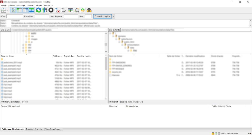 Interface de Filezilla