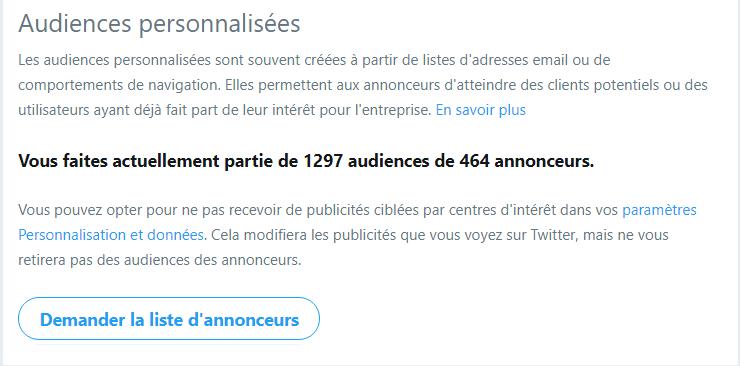 Audiences personnalisées Twitter (ciblage publicitaire)