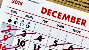 Un calendrier dont les dates sont barrées