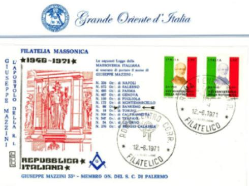 Esempio di filatelia massonica e mazziniana. Fonte: Collezione filatelica di Renato Boeri presente sul sito del Grande Oriente d'Italia