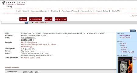"""Anche il Princeton Theological Seminary acquisisce """"Il Diavolo e l'Anticristo"""", libro di Carlo Di Pietro per Edizioni Radio Spada"""