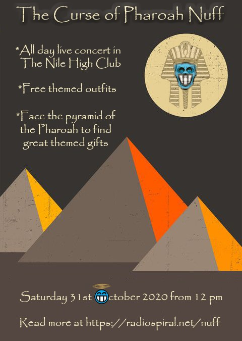 THE CURSE OF PHARAOH NUFF: Eight hours of live music beginning very soon!