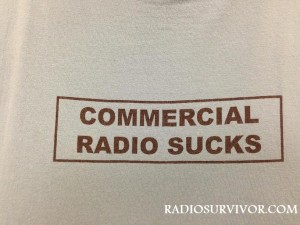 """Front of KZSC T-shirt reads """"Commercial Radio Sucks"""""""