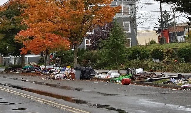 Homeless camp in Tacoma photo from Tacom Weekly, October 27, 2019