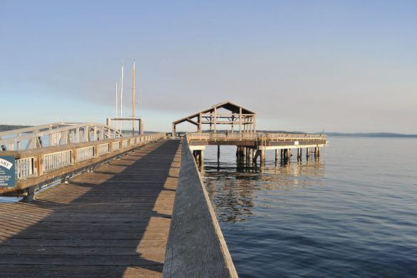 Union Wharf in Port Townsend, stretching away from the camera