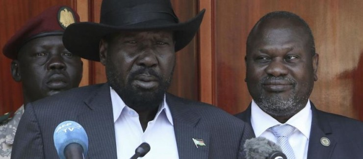 President Salva Kiir, left, and opposition leader Riek Machar, right, after a meeting in Juba on 20 February (AFP)