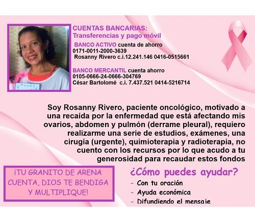ROSANNY RIVERO PACIENTE ONCOLOGICO COLEGA Y TRBAJADORA DE RADIO WEB..DEMOSLE  NUESTRO APOYO ..