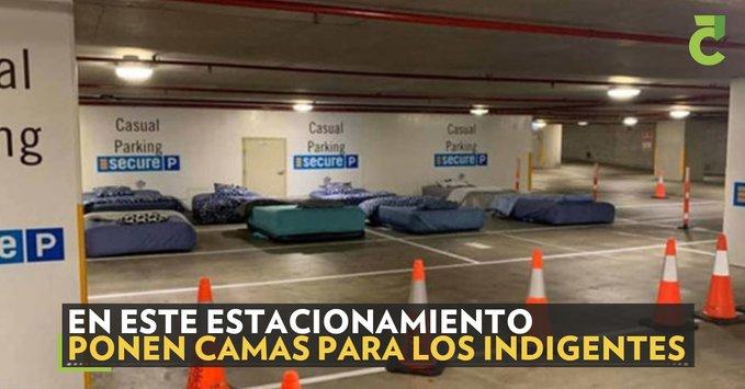 ESTACIONAMIENTO CAMBIA LOS AUTOS POR CAMAS PARA INDIGENTES