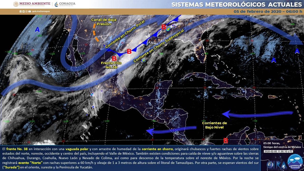 CHUBASCOS Y RACHAS DE VIENTO DE HASTA 60 KM/H ES EL PRONÓSTICO PARA HOY