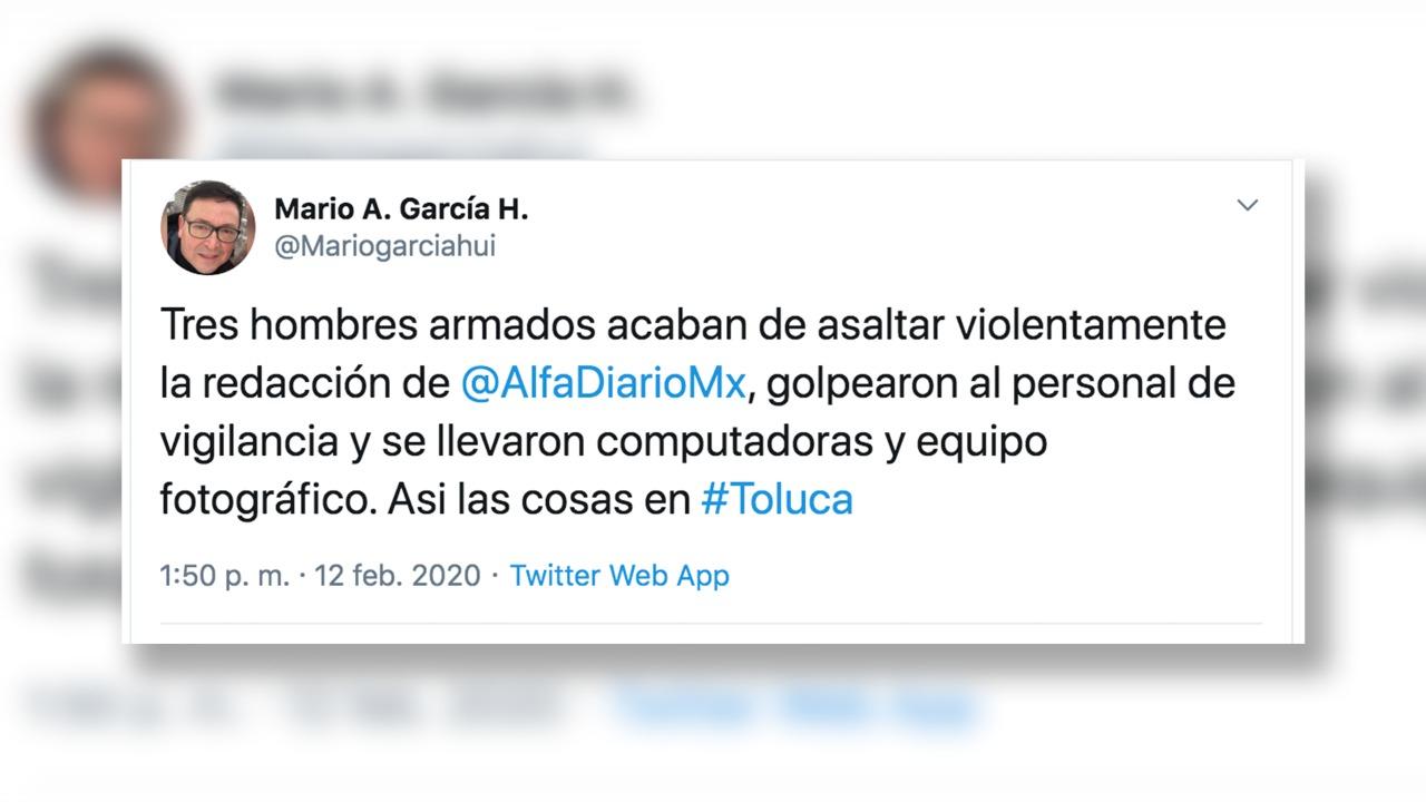 CONDENA SRYTM ASALTO EN LAS INSTALACIONES DE ALFA DIARIO