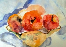 Apples, Watercolor on paper