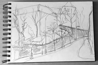 Pencil_sketching_Vysehradska_Emauzy_Prague_January2016