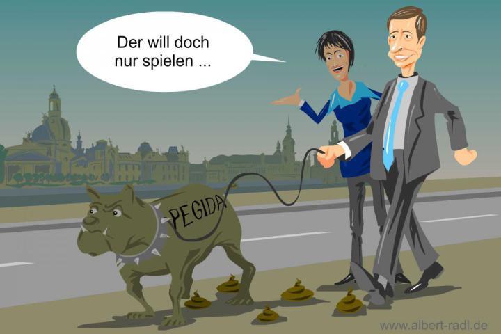 Die AfD sucht offen den Kontakt und die Zusammenarbeit mit der Dresdner Bewegung Pegida.