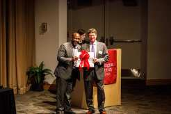 Award recipient (right) David T. Curiel, MD, PhD, and Dedric Carter, Vice Chancellor for Operations and Technology Transfer.