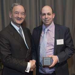 Award recipient Michael Altman, PhD, with Chancellor Mark S. Wrighton.
