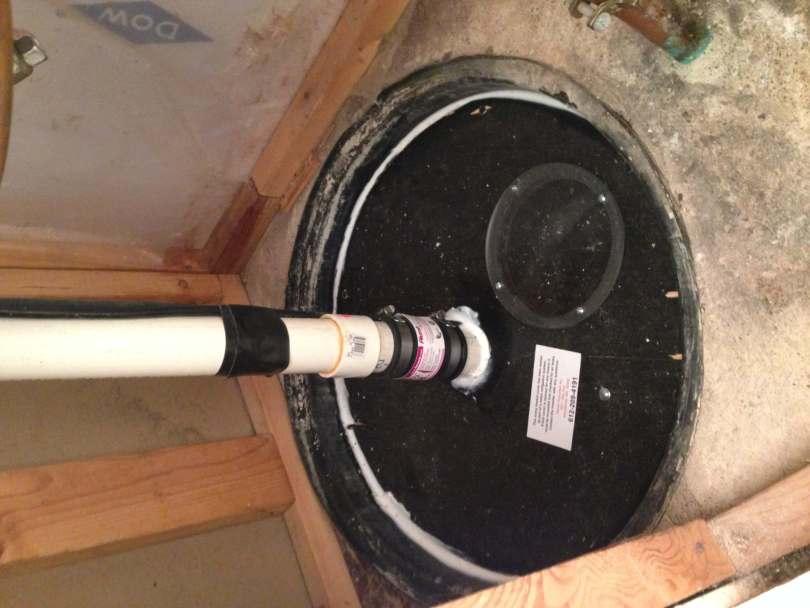 Sealed sump basket as part of a radon mitigation system.