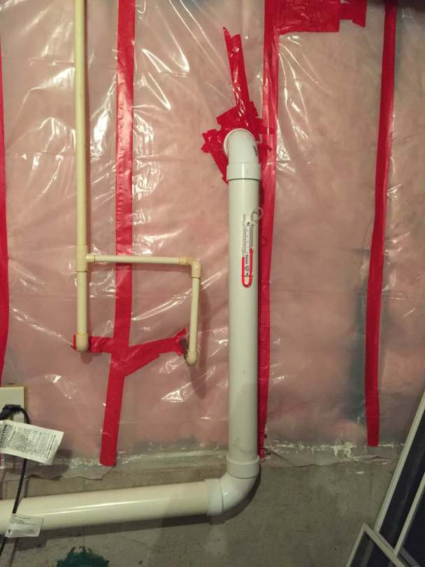 A radon pipe with a u-tube to monitor performance of a radon mitigation system.