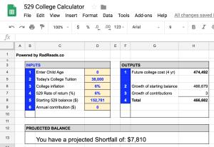 529 Calculator in Google Sheets
