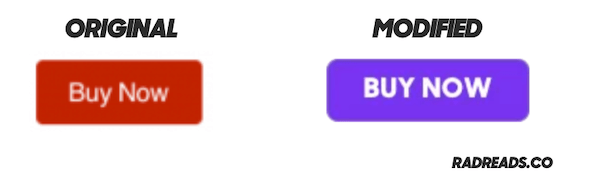 "A red ""buy"" button and purple one."