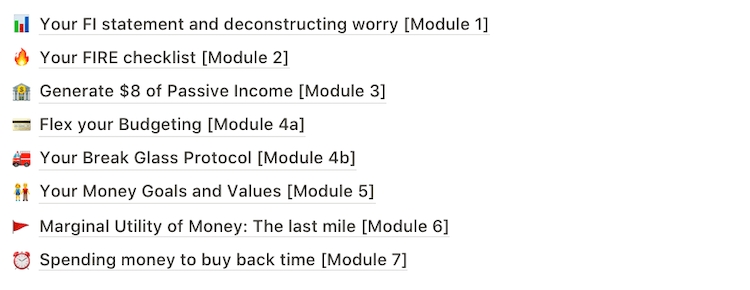 The 8 module course syllabus
