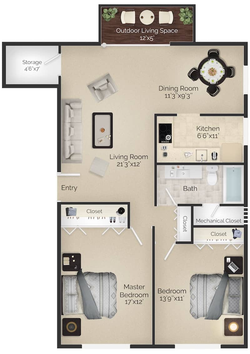 The Paoli II 1,050 square foot floor plan 2 bedrooms 1 bathroom with balcony at Radwyn apartments