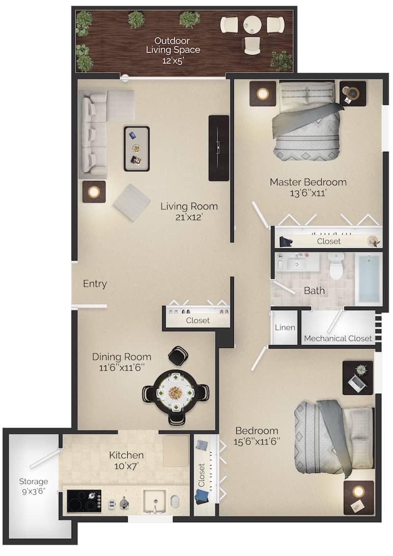 Main Line Apartments Two Bedroom Floor Plan