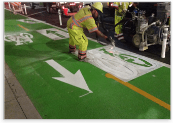 RAE supplies all materials and training for installing HFS (high friction surface), MMA Bike lanes and area markings.