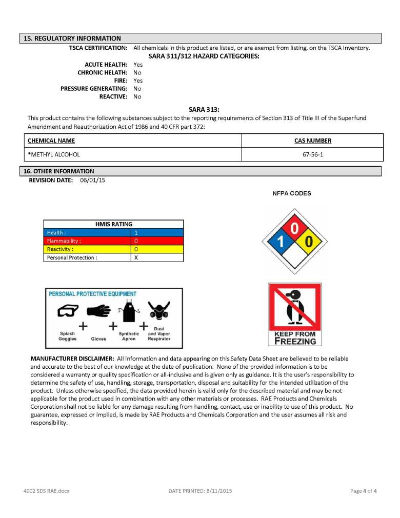4902 Yellow - SDS - RAE Products & Chemicals Corp