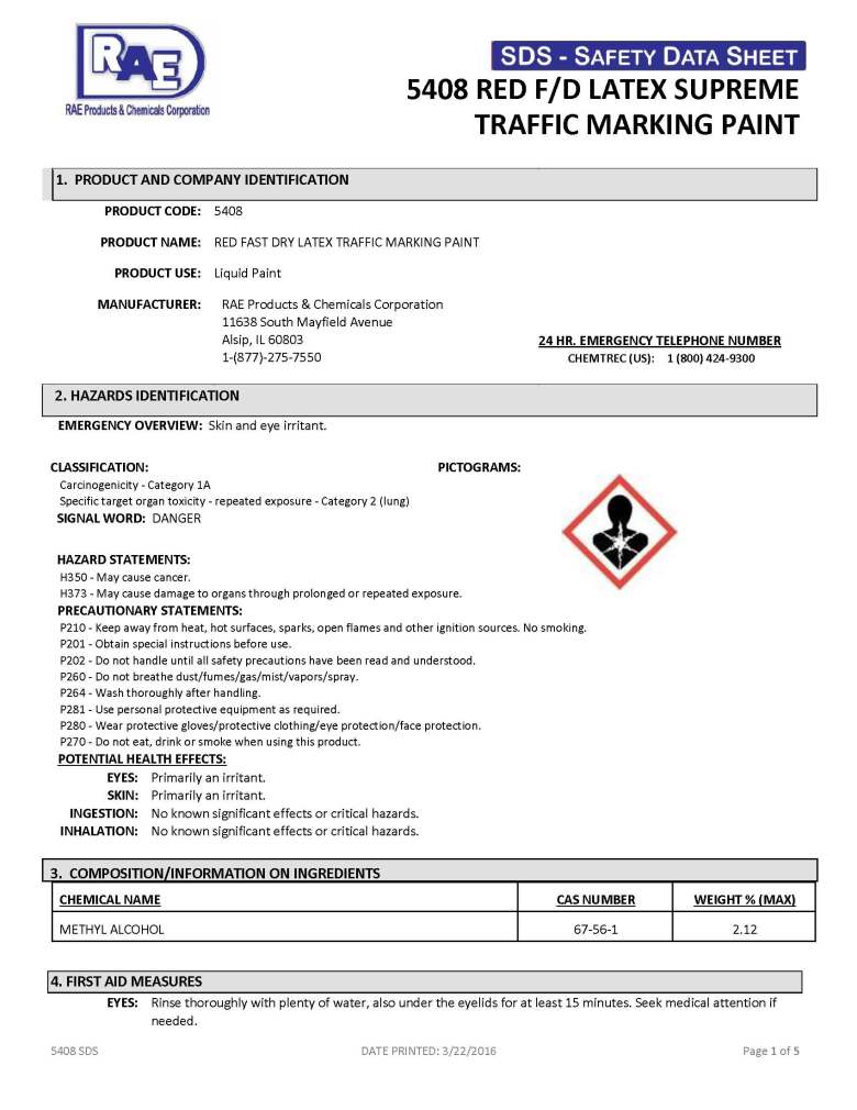 5408 Red - SDS - RAE Products & Chemicals Corp  - Providing