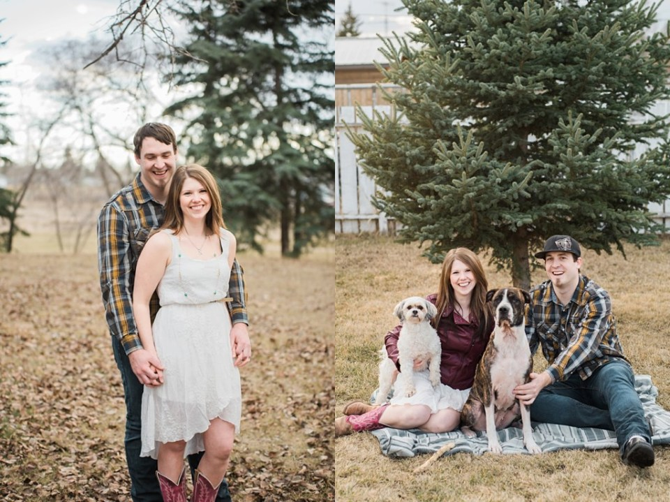 Family of 4 with fur babies - Stettler Engagement - Raelene Schulmeister Photography