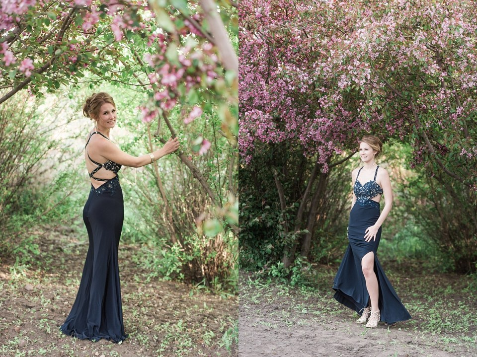 Beautiful graduation photos in an apple orchard