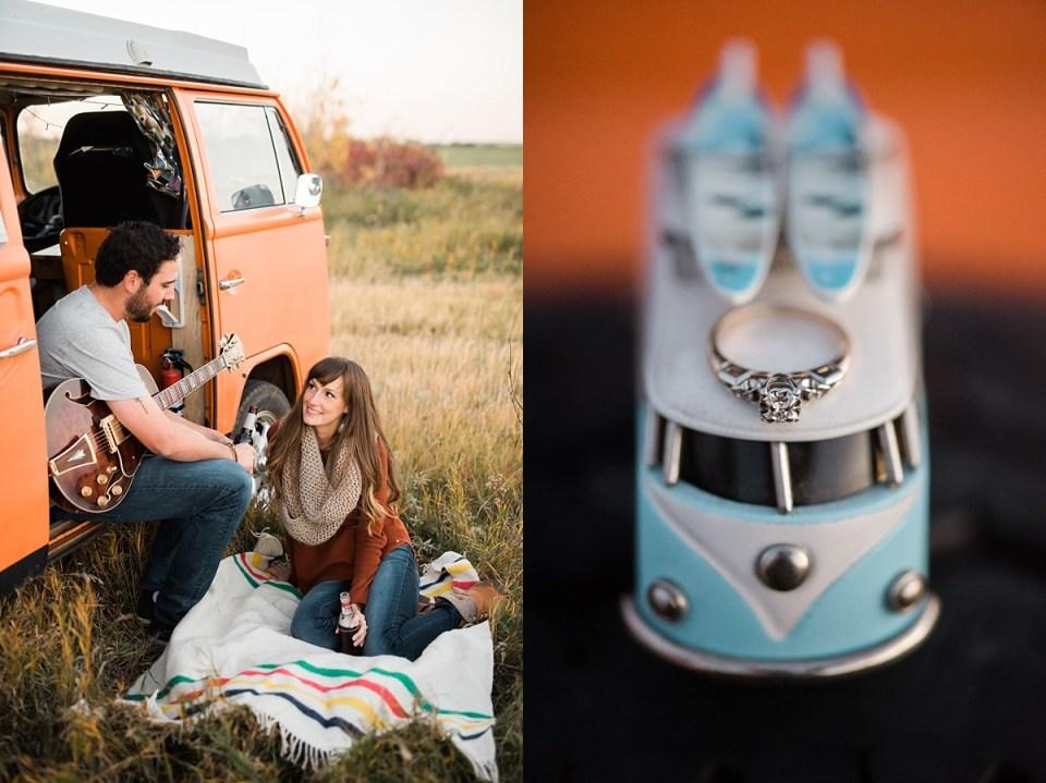 Stettler Fall Engagement Photos | Red Deer Photographers | Brett and Jenna | Volkswagen Westfalia