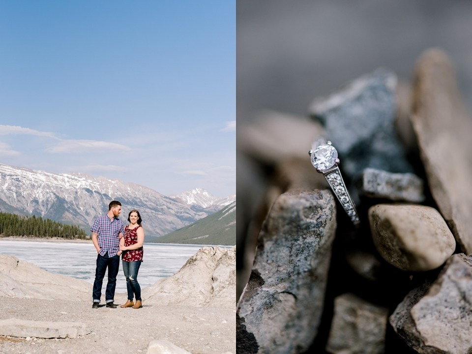 Lake Minnewanka engagement photos-Banff wedding and elopement photographers-Mountain engagement session