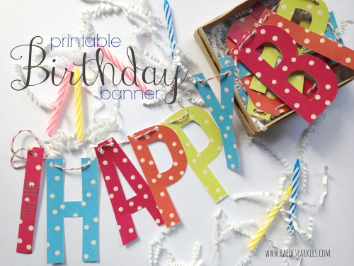 Printable Birthday Banner // DIY // Snail Mail Birthday Card