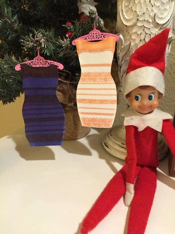 Elf on the Shelf - Is the dress blue or gold?