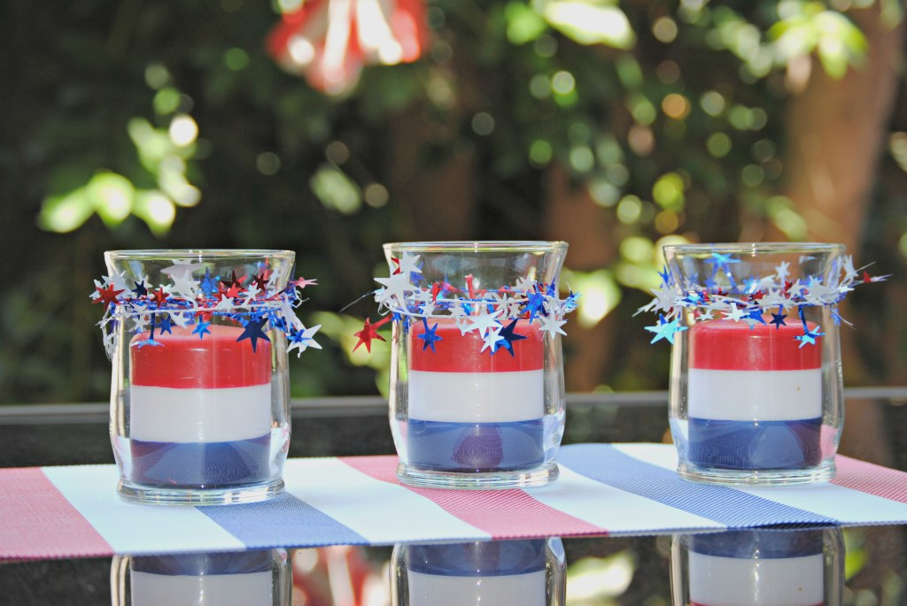Dollar Store Patriotic Candle Centerpieces - 4th of July Centerpiece Idea