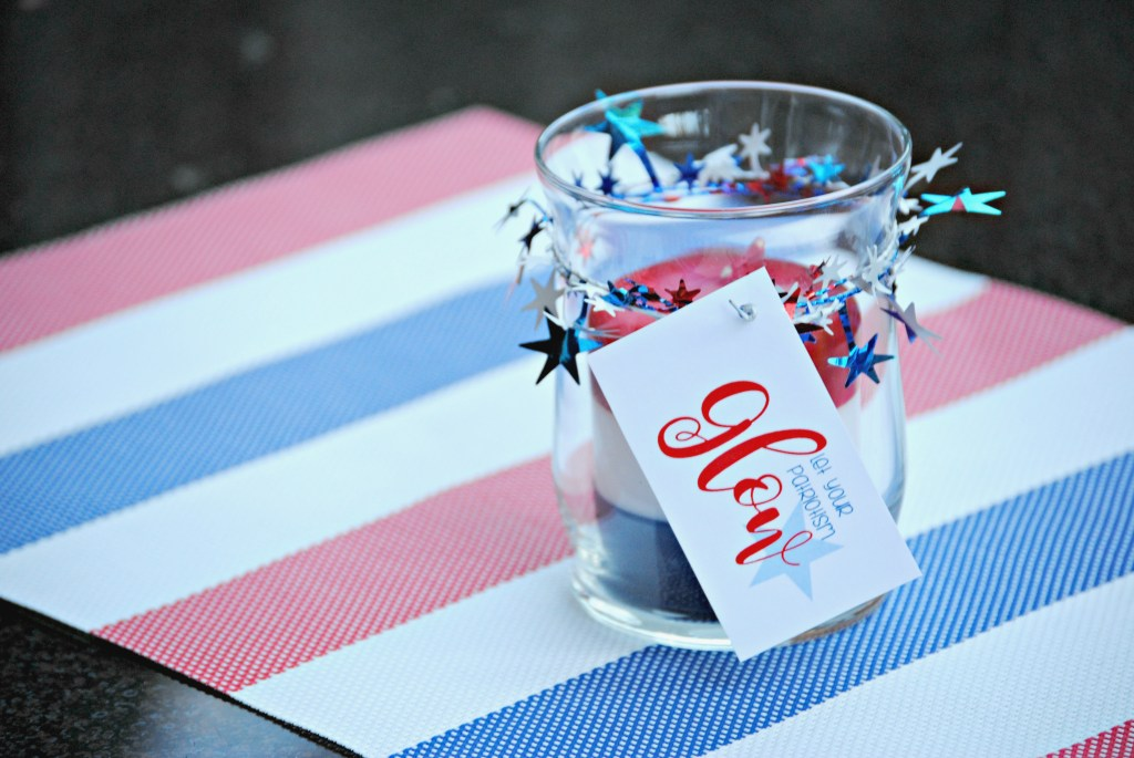 Dollar Store Patriotic Candle Gift