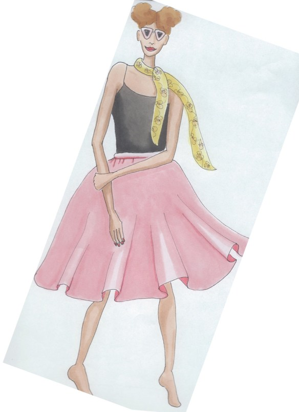 raes drawings pink skirt