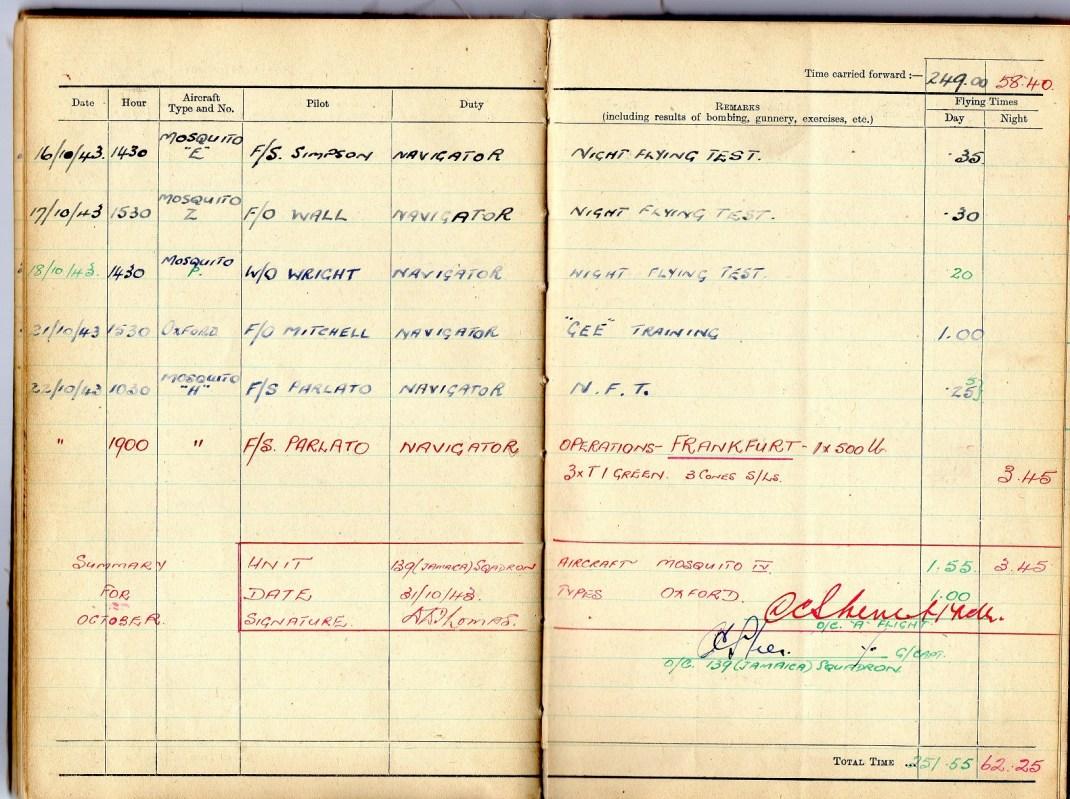logbook october 1943