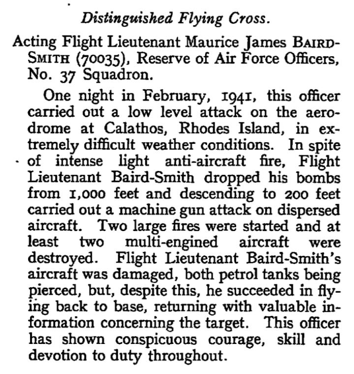 baird-smith london gazette 25 Feb 1941