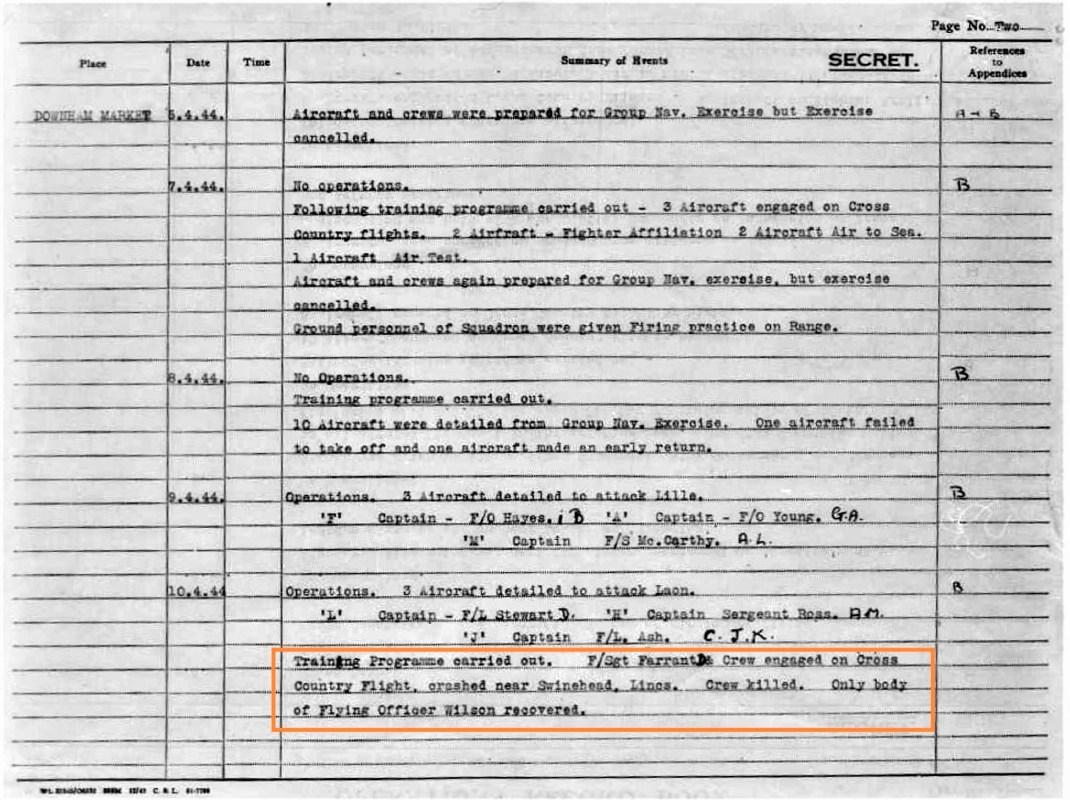 farrant crew killed near Swinehead Lincs, 10 April 1944