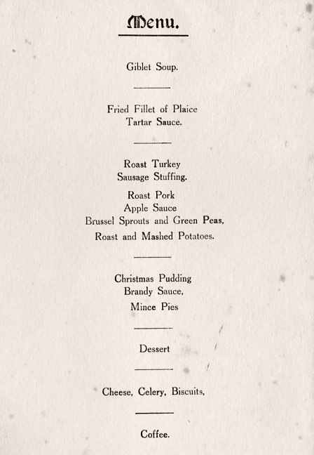 xmas dinner, Graveley, 1944, Bill Phillips, menu