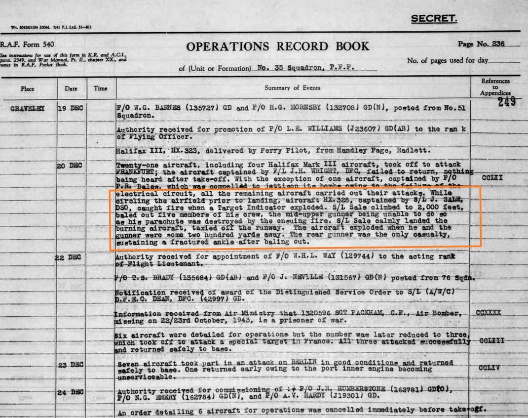 graveley, 35 squadron, TI expolodes mid-air