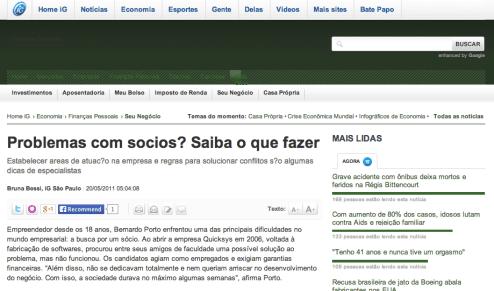 Rafael Carvalho em reportagem do Portal IG