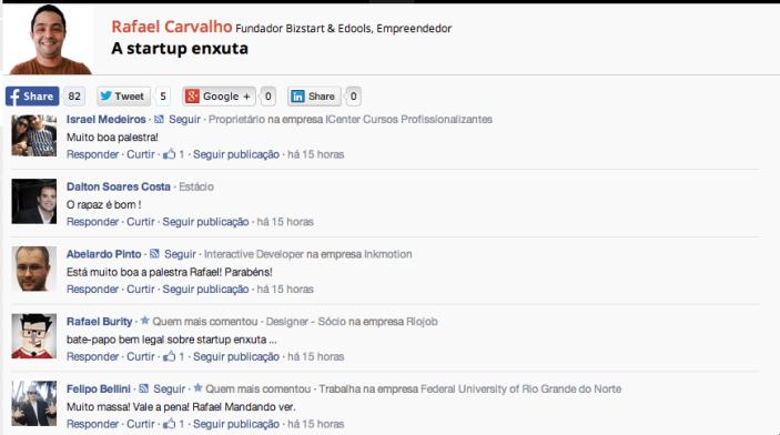Comentários sobre a palestra de Rafael Carvalho no StartupCON