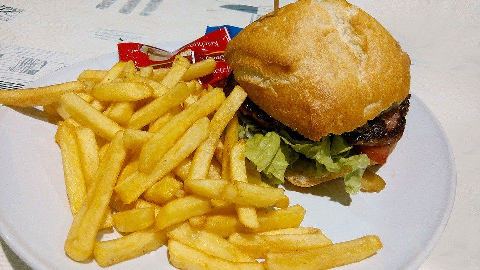 Burger, Alimentos, Batatas Fritas, Prato, Menu
