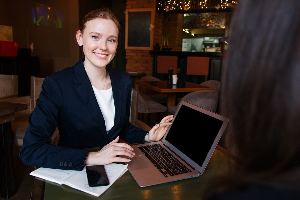 Negócios, Lady, Mulher, Menina, Computador, Sorriso