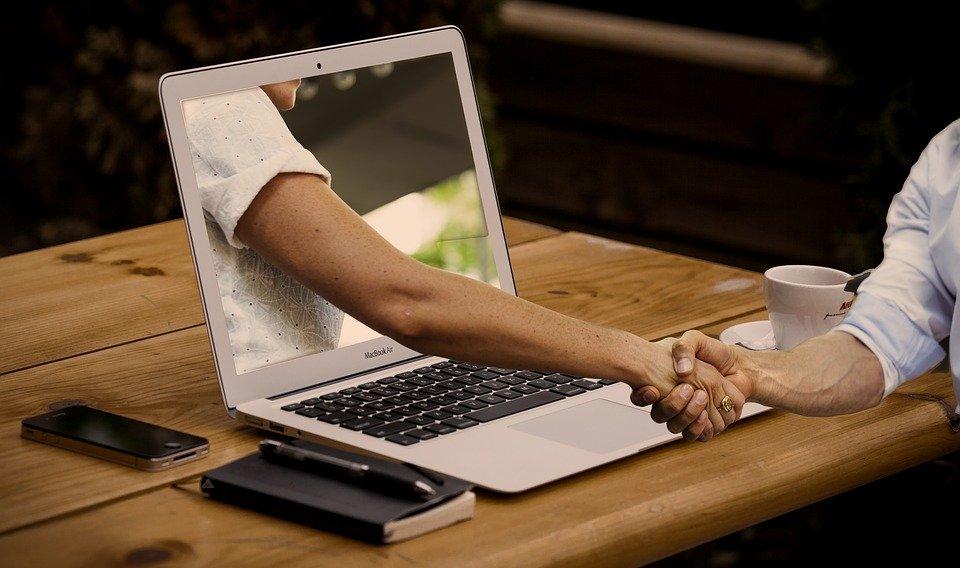 Aperto De Mão, Mãos, Computador Portátil, Monitor
