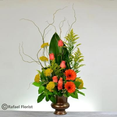 condolence flowers orange roses orange gerbera yellow salidago