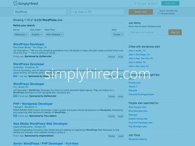 Captura de tela do site do simplyhired.com com o texto simplyhired.com escrito sobre ela